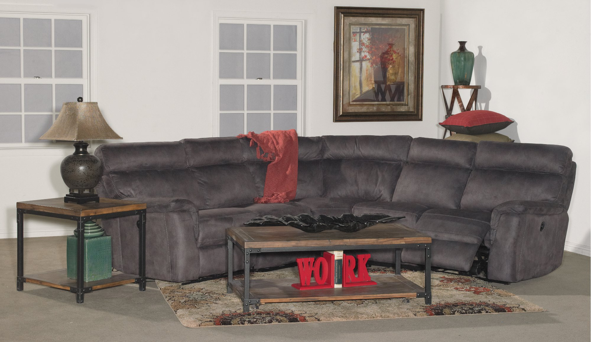 Gray 6 Piece Power Reclining Sectional Abby
