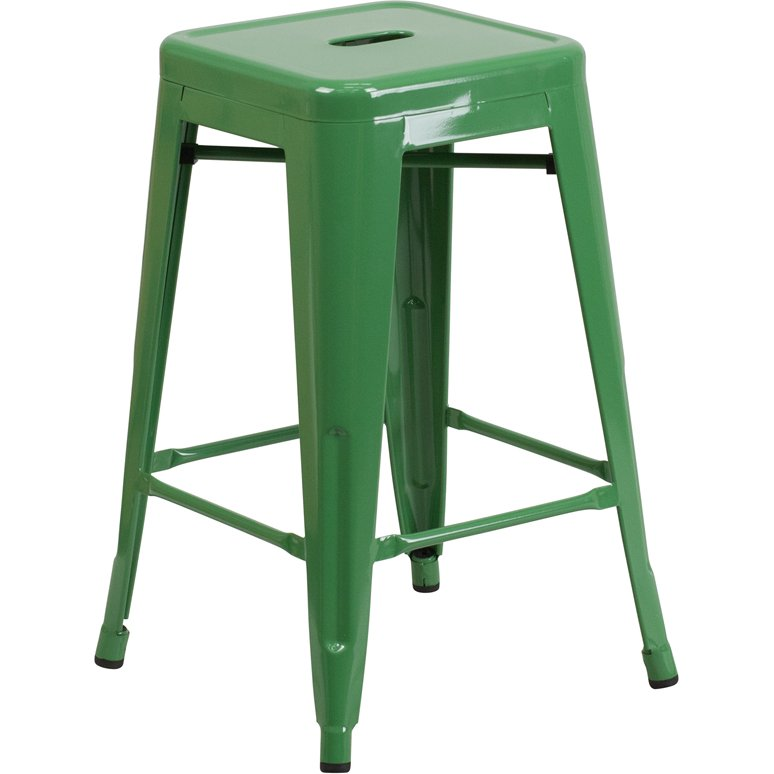 Backless Green Metal 24 Inch Counter Height Stool