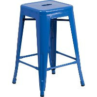Backless Blue Metal 24 Inch Counter Height Stool