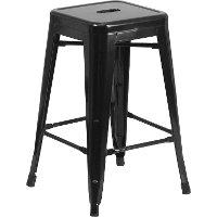Backless Black Metal 24 Inch Counter Height Stool