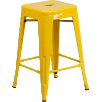 Backless Yellow Metal 24 Inch Counter Height Stool