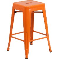 Backless Orange Metal 24 Inch Counter Height Stool