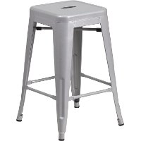 Backless Silver Metal Square Seat 24 Inch Counter Stool