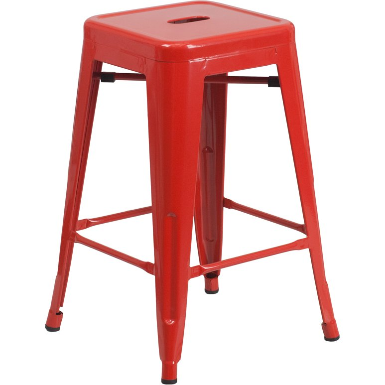 Backless Red Metal 24 Inch Counter Height Stool