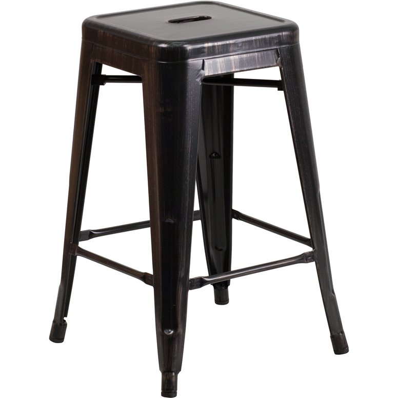 Backless Antique Metal 24 Inch Counter Height Stool