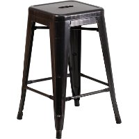 Backless Black-Antique Gold Metal Square Seat 24 Inch Counter Stool
