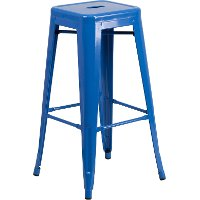Backless Blue Metal Square Seat 30 Inch Bar Stool
