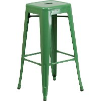 Backless Green Metal Square Seat 30 Inch Bar Stool