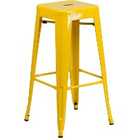 Backless Yellow Metal Square Seat 30 Inch Bartool