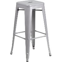 Backless Silver Metal Square Seat 30 Inch Bar Stool