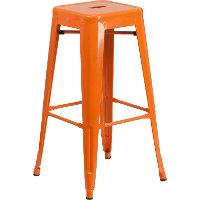 Backless Orange Metal Square Seat 30 Inch Bar Stool