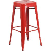 Backless Red Metal Square Seat 30 Inch Bar Stool