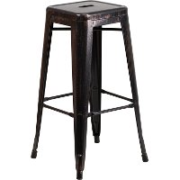Backless Black-Antique Gold Metal Square Seat 30 Inch Bar Stool