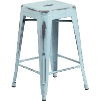 Backless Distressed Dream Blue Square Seat 24 Inch Counter Stool
