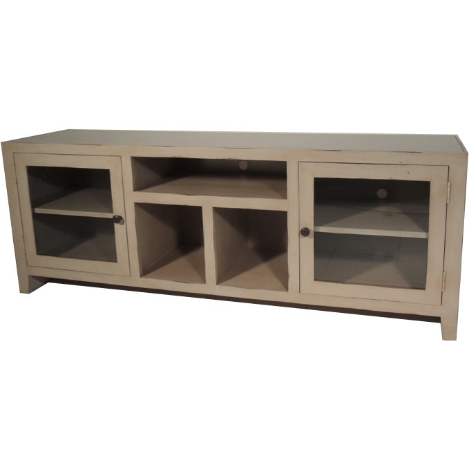 ... 65 Inch Antique Distressed White TV Stand