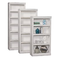 Contemporary White Fir 84 Inch Bookcase with Adjustable Shelves