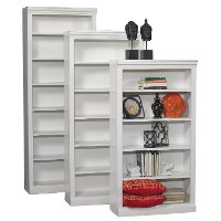 White 60 Inch Contemporary Bookcase with Adjustable Shelves