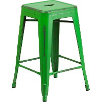 Backless Distressed Green Square Seat 24 Quot Counter Stool
