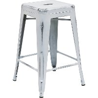 Backless Distressed White Square Seat 24 Inch Counter Stool