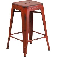 Backless Red 24 Inch Counter Height Stool