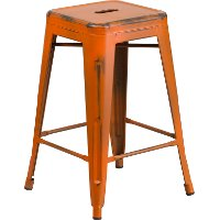 Backless Distressed Orange Square Seat 24 Quot Counter Stool