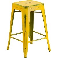 Backless Distressed Yellow Square Seat 24 Inch Counter Stool