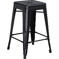 Backless Distressed Black Square Seat 24 Inch Counter Stool