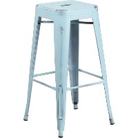 Backless Distressed Dream Blue Square Seat 30 Inch Bartool