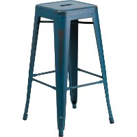 Backless Distressed Blue Square Seat 30 Inch Bartool