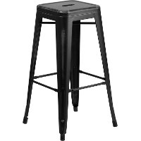 Backless Distressed Black Square Seat 30 Inch Bartool