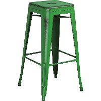 Backless Distressed Green Square Seat 30 Inch Bartool