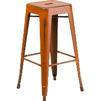 Backless Distressed Orange Square Seat 30 Inch Bartool