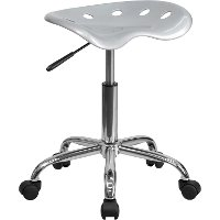 Vibrant Silver Adjustable Tractor Seat Stool