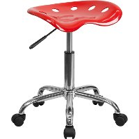 Vibrant Red Adjustable Tractor Seat Stool