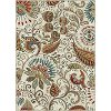CAPRI/CPR1011..2 5 x 7 Medium Ivory, Aqua, and Red Area Rug - Capri