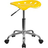 Vibrant Yellow Adjustable Tractor Seat Stool