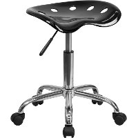 Vibrant Black Adjustable Tractor Seat Stool
