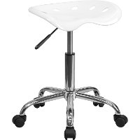 Vibrant White Adjustable Tractor Seat Stool