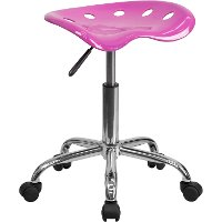 Vibrant Candy Heart Pink Adjustable Tractor Seat Stool