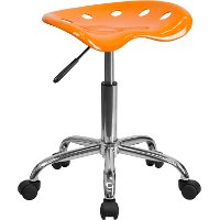 Vibrant Orange/Yellow Adjustable Tractor Seat Stool