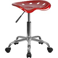 Vibrant Wine Red Adjustable Tractor Seat Stool