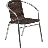 Aluminum and Dark Brown Rattan Stack Chair