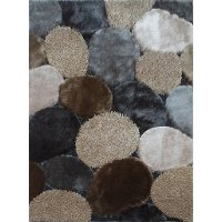 5 x 7 Medium Gray and Beige Area Rug - Shaggy Viscose Design