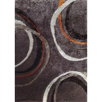 5 x 7 Medium Mocha, Gray and Orange Area Rug - Lola