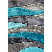 5 x 7 Medium Gray & Teal Area Rug - Living Shag