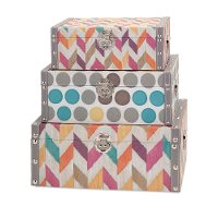 14 Inch Multi Color Fabric Covered Storage Box