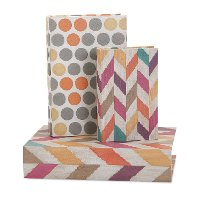 5 Inch Multi Color Fabric Covered Book Box