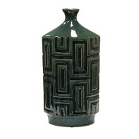 Dark Green Ceramic Bottle Vase