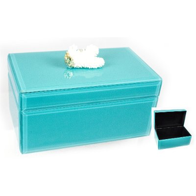 7 Inch Turquoise Wood and Glass Jewelry Box with Coral RC Willey