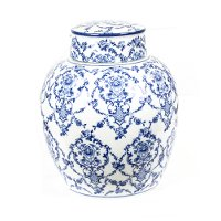 10 Inch Blue and White Floral Jar